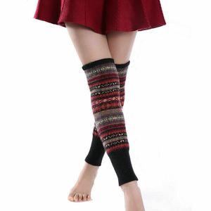 1 Paar Damen Stulpen mit Wolle Feine Gestrickt Winter Beinwärmer Beinstulpen Dunkelblau