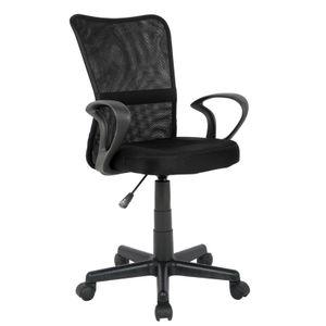 SixBros. Bürostuhl,Schreibtischstuhl, Drehstuhl für's Büro oder Kinderzimmer, stufenlos höhenverstellbar mit Armlehnen, Schreibtischstuhl für Kinder aus Stoff, schwarz,H-298F-2/2122