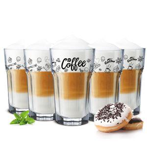 6 Kaffeegläser 300ml Latte Macchiato Gläser Teeggläser Cocktailgläser Caipirinha(Ohne Löffel)