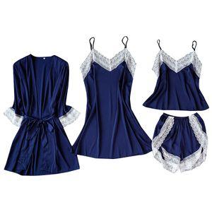 Satin Silk Pyjamas Cardigan Nachthemd Bademantel Damen Roben Unterwäsche Nachtwäsche Größe:S,Farbe:Hellblau