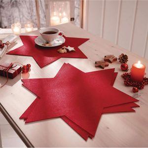 Platzmatten-Set 4-tlg. Stern Tischset Platzdecken Weihnachten Filz rot Festtafel
