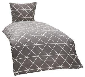 4 teilige Bettwäsche 135x200 cm Karo Triangel grau anthrazit weiß Baumwolle Set