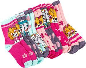 Bunt gemischtes 7er-Sparpaket - Kindersocken mit verschiedenen Motiven von PAW PATROL, Frozen oder Fireman Sam - , Schuhgröße:31/34, Farbe-Motiv:Paw Patrol - girl