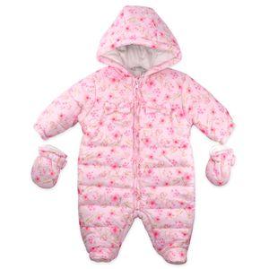 Mädchen Baby Winteranzug Schneeanzug Winter Overall Floral Blumen rosa 68 (3-6 Monate)
