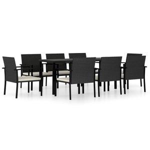 9-teiliges Outdoor-Essgarnitur Garten-Essgruppe Sitzgruppe Tisch + stuhl Poly Rattan Schwarz