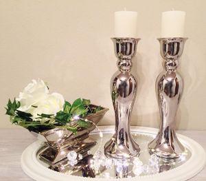 2 x 44 cm Kerzenständer Kerzenleuchter Kerzenhalter Keramik Silber Shabby Chic