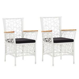 vidaXL Gartenstühle 2 Stk. mit Auflagen Poly Rattan Weiß
