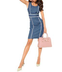 ASHLEY BROOKE Damen Designer-Jeanskleid, blau, Größe:38