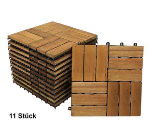 Holzfliesen Set 11 Stück = 1 m ² Akazie Modell 02
