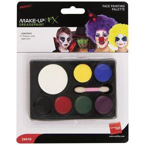 Smiffy's 24410 - FX Makeup Schmink Set Basic - 7 Farben + Pinsel