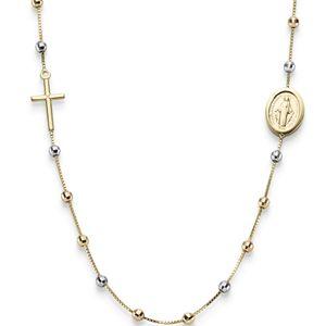 Rosenkranz Venezia mit Kreuz und Amulett 585 Gold Gelbgold Rotgold Weißgold 45cm