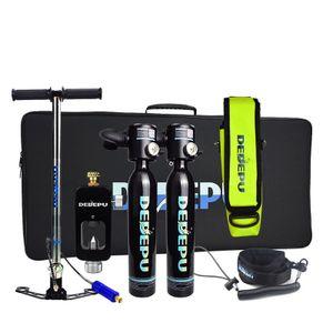 DEDEPU Mini Tauchflasche Sauerstoffflasche Taucherflasche 2x0,5L  Tauchen Sauerstofftank Taucher Set Tauchausrüstung mit Aufbewahrungstasche, Schwarz