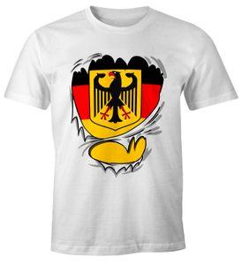 Lustiges Herren Deutschland-Shirt Fan-Shirt Rip off Deutschland Flagge WM 2018 Fußball Weltmeisterschaft Moonworks® weiß M