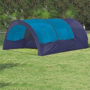 Campingzelt CampFeuer Tunnelzelt 6 Personen Stoff Blau/Dunkelblau