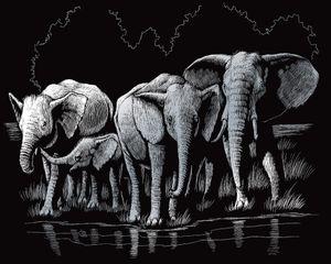 "Kratzbild ""Elefanten"", Silber, 20 x 25 cm"