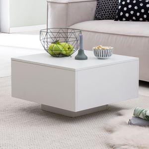 WOHNLING Couchtisch WL5.832 Holz 60 x 60 x 35,5 cm Spanplatte   Wohnzimmertisch Coffee Table Modern   Beistelltisch Quadratisch Weiß   Design Sofatisch Loungetisch   Weißer Kaffetisch Wohnzimmer