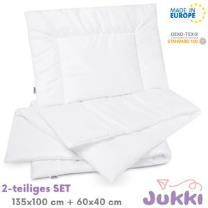 JUKKI® Kinderbettdecke SET  Bettdecke 100x135 + Kissen 40x60  Babybettdecke SET für Baby Kinder Allergiker