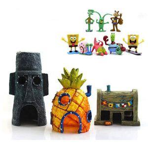 11×Aquarium Landschaftsbau Cartoon Dekorationen künstliche Burg Landschaft Ananas Haus Aquarium Dekorationen SpongeBob Haus