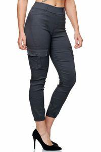 Damen Cargo Hose Jeggings Stretch Stoffhose Gummibund Slim Fit Outdoor, Farben:Grau, Größe:S-M
