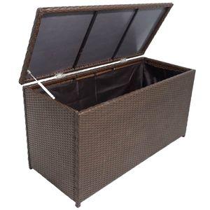 Huicheng Polyrattan Gartenbox Kissenbox Aufbewahrungsbox Braun 120×50×60 cm Mit Gasdruckfeder