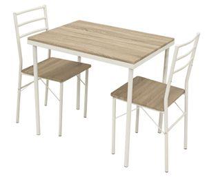 DEGAMO Essgruppe Sitzgruppe Küchenmöbelset KÖLN 3-teilig, Gestell Metall weiss, Oberflächen Eiche Sonoma Nachbildung