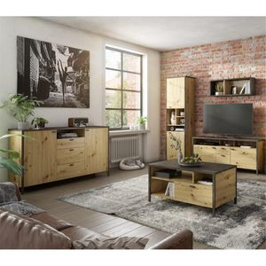 Wohnwand Kombination inkl. Sideboard und Couchtisch INDORE-10, Industrial Style, in Artisan Nb./Stahl dunkel, B/H/T: ca. 203/198/40,5 cm