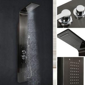 Edelstahl Duschset Duschpaneel Duscharmatur Regendusche Duschgarnitur 140*20*7cm Schwarz
