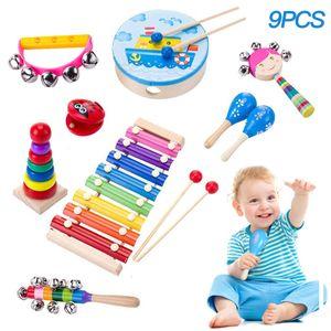 9-piece set Musikinstrument Spielzeug für Kinder, Holz Percussion Instrument Set Baby Spielzeug Geschenk für Kleinkinder