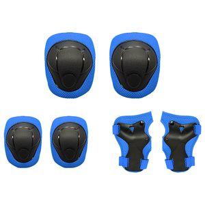 Lixada Kids Knieschützer Set 6 in 1 Protective Gear Kit Knie-Ellbogenschützer mit Handgelenkschutz Kindersicherheits-Schutzpolster für Rollerblading Radfahren Skaten(Blau)