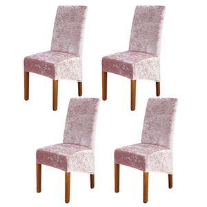 Stuhlbezüge, 4er-Satz, Super Soft Suede Stuhlbezüge Abnehmbarer Samt-Stuhlschutz für Party, Rosa XL