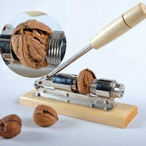 Nusszange: Retro Design-Nussknacker Nussöffner aus Holz und verchromtem Stahl