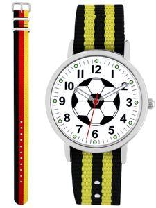 Pacific Time Fußball Armbanduhr Kinder Jungen Sport 2 Wechselarmbänder Deutschland + schwarz gelb 86522