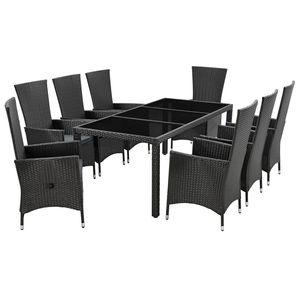 Juskys Polyrattan Sitzgruppe Rimini Plus 9-teilig & wetterfest – Gartenmöbel Set mit Tisch & 8 Stühle - Essgruppe für 8 Personen - schwarz mit grau
