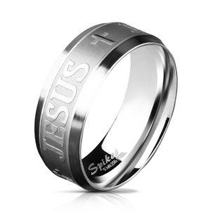 Edelstahl Ring Kreuz Jesus Herren Damen Bandring gebürstet Cross Autiga®  59 - Ø 18,95 mm 8 mm