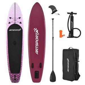 ArtSport Stand Up Paddle Board Purple Rain aufblasbar – SUP Board Set mit Pumpe, Paddel, Tasche und Zubehör – Tragkraft bis 150 kg – Lila-Weiß