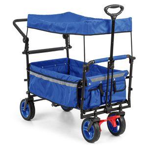 Waldbeck Easy Rider - Bollerwagen mit Dach , Handwagen , bis 70kg belastbar , robuster und pflegeleichter 600D Polyesterbezug , 2 Sicherheitsgurte für Kinder , faltbar , Teleskop-/ Schubstange , blau