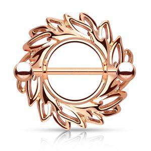 Brustwarzen Piercing 14 Karat vergoldet Nippelpiercing Brustpiercing Schild Autiga® rosegold