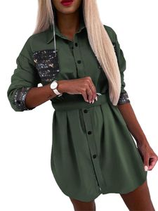 Damen Button-Down-Shirt Kleid Langarm lässig Long Top T-Shirt,Farbe: Grün,Größe:3XL
