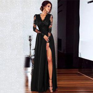 Sexy Frauen Spitze Maxi Kleid Tiefem V-ausschnitt Langarm Side Split Schlank Party Formales Langes Kleid Schwarz