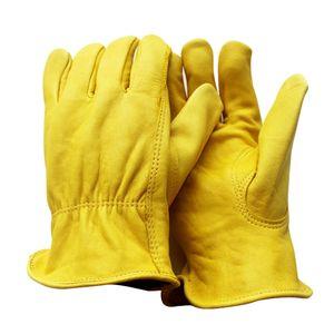 Arbeitshandschuhe aus Leder Arbeitsschutzhandschuhe zum Fahren, Gärtnern, XL Gelb