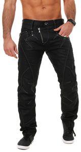 Cipo & Baxx Herren denim Jeans Hose mit schräg verlaufendem Reißverschluss Vintage Look Pants Straight Leg Regular Fit, Grösse:W36/L32, Farbe:Schwarz (C-0812)