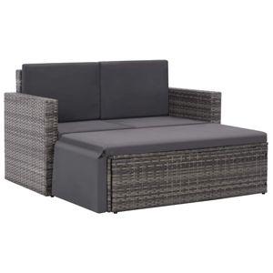 vidaXL 2-tlg. Garten-Lounge-Set mit Auflagen Poly Rattan Grau