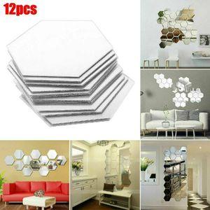 12PCS 3D Spiegelfliesen Mosaik Wandaufkleber Selbstklebende Wandspiegel Art Nachbildunge Schlafzimmer Home Nachbildung
