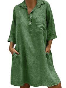 Damen V-Ausschnitt Kurzarm Boho Loose Shirt Kleid Knopf Knopf Taschen,Farbe: Grün,Größe:S