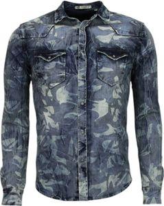 Jeanshemd - Slim Fit - Armee Motiv - Blau - XS