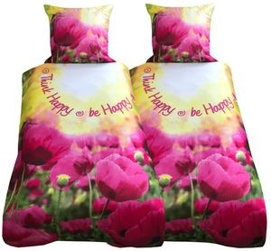 Bettwäsche 135x200 + 80x80 cm pink gelb Zitat be happy mit Reißverschluss, 4-tlg