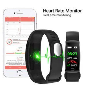 Fitness-Tracker HR ,Activity Tracker Uhr Mit Pulsmesser Wasserdicht Smart Armband Armband IP68, Farbe: Schwarz