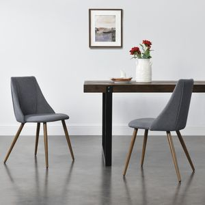 2x Polsterstuhl Design Stühle Esszimmerstuhl 2er Set Textil Grau Bürostuhl mit Metallbeinen in Holzoptik 2 Stk. [en.casa]