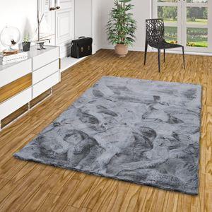 Luxus Super Soft Fellteppich Plush Grau Meliert, Größe:120x170 cm
