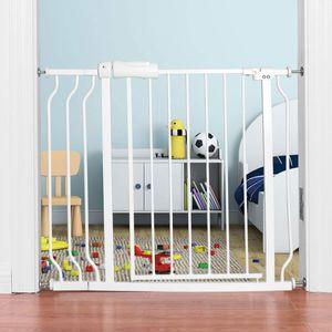 COSTWAY Treppenschutzgitter Babygitter weiss, Kindertreppen Gitter ohne Bohren, Schutzgitter erweiterbar von 74-98cm